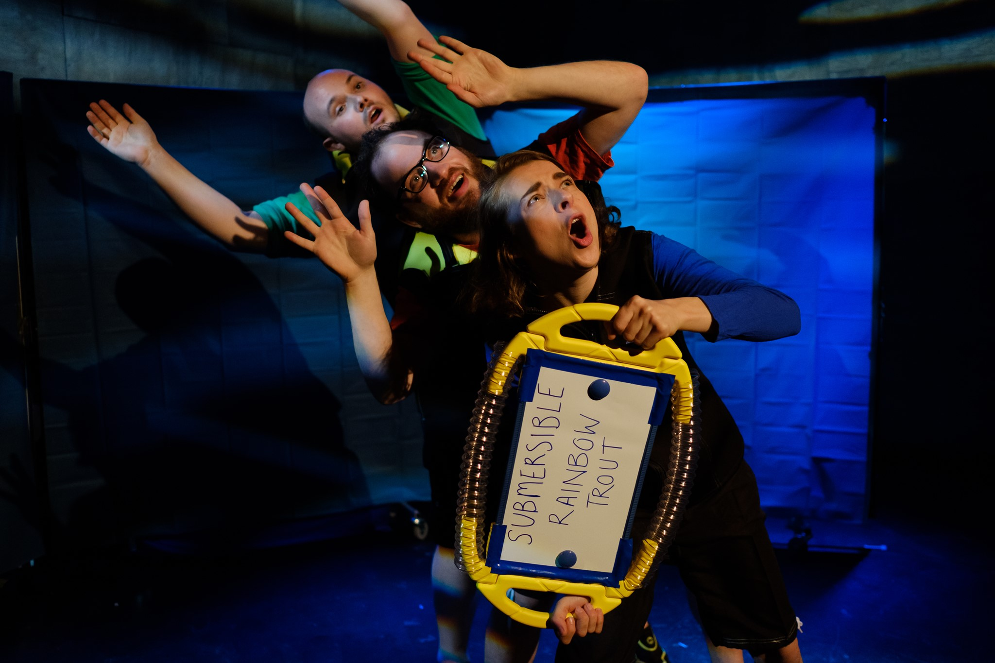 An image from the Deep Sea Seekers production showing the three actors