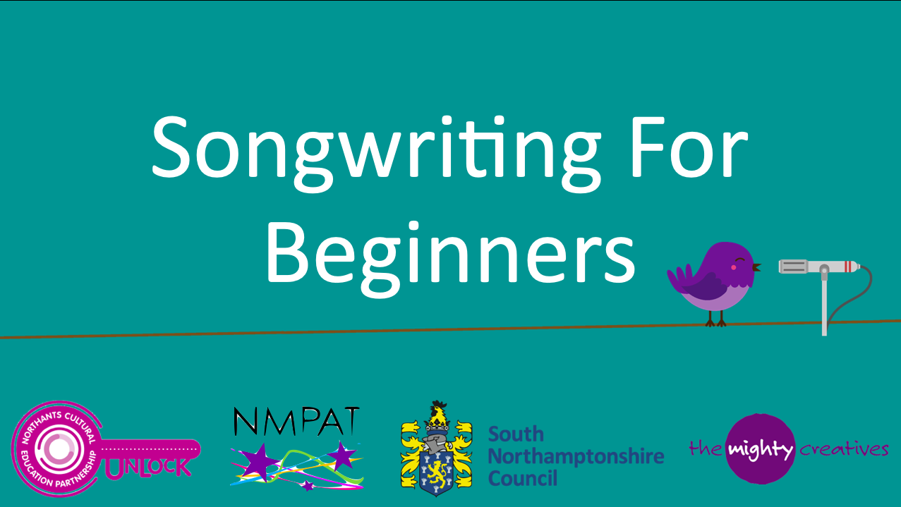 songwriting for beginners logo on a green background