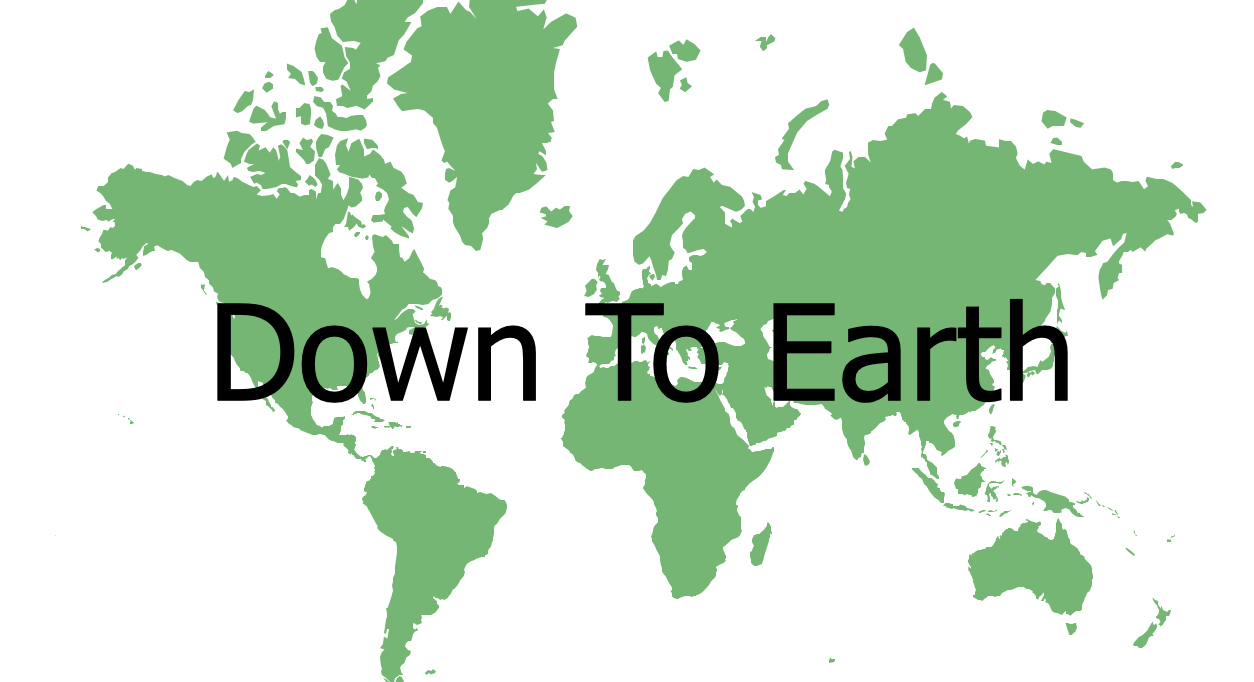 The logo for Down To Earth which features a green map of the world as its background